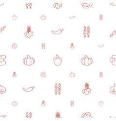 Vegetable icons pattern seamless white background vector