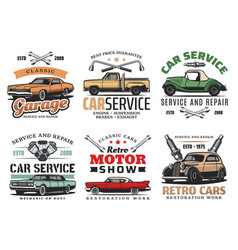 Vintage cars and tools repair service icons vector