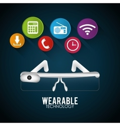 Vr glasses wearable technology digital vector