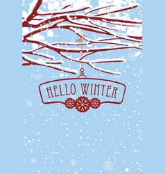 Winter banner with snow-covered branches of tree vector