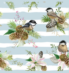 Winter christmas birds seamless background vector