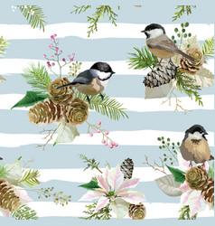 Winter christmas birds seamless background vector