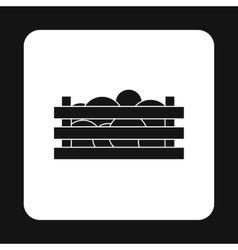 Wooden crate with vegetables icon simple style vector