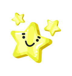 yellow bright glossy smiling star mascot cartoon vector image