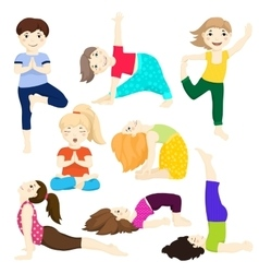 Yoga kids set 3 vector image
