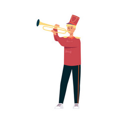 Young man in festive parade costume playing music vector