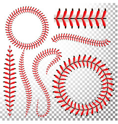 baseball stitches set baseball red lace vector image