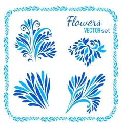 floral elements and frames set vector image vector image