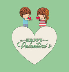 happy valentines cute couple holding hearst in vector image