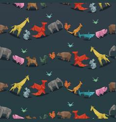 Origami wild paper animals creative decoration vector