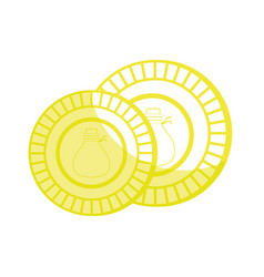 Silhouette coins cash money to financial economy vector