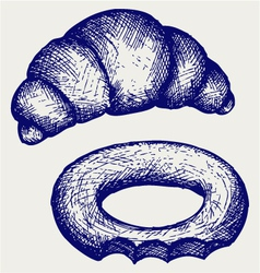 Fresh croissant and bagel vector image vector image