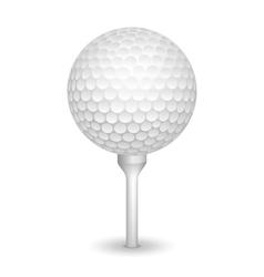 Golf realistic ball on a tee vector