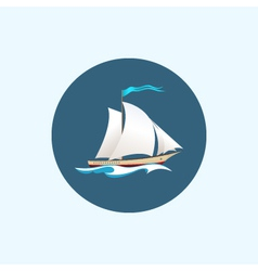 Icon with colored sailing vessel vector image vector image