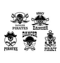 jolly roger pirate icons set vector image
