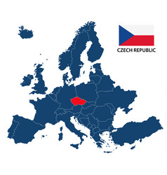 map of europe with highlighted czech republic vector image