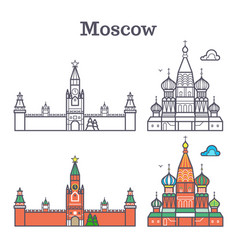 moscow linear russia landmark soviet buildings vector image vector image