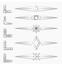 vintage thin line shapes and corners collection vector image vector image