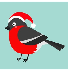 Bullfinch winter red feather bird Santa hat Cute vector image vector image