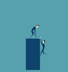 business man helping colleague to climb on bar vector image vector image