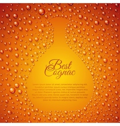 Flowing down drops of cognac in wineglass vector image