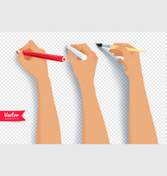 Hands drawing with brush pencil and chalk vector