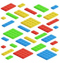 isometric building block toy kids bricks vector image