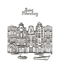 old houses art Saint Petersburg postcard vector image