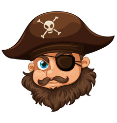 pirate wearing hat and eyepatch vector image