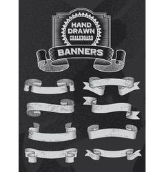 Retro Chalkboard Banner and Ribbon Design Set vector image