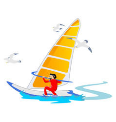 windsurfing water extreme sports isolated design vector image
