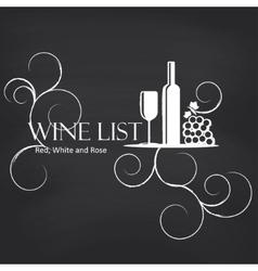 Wine list on blackboard background vector image
