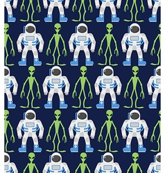 Astronaut and humanoid alien Seamless pattern vector image