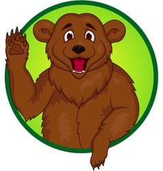 Bear cartoon waving hand vector image vector image