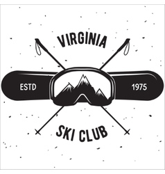 Emblem of Ski Club Vintage Mountain winter badge vector image vector image