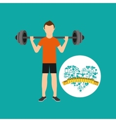 heart weight loss sport person weight barbell vector image
