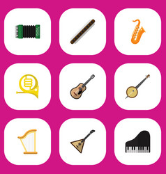 set of 9 editable music flat icons includes vector image vector image