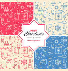 set of christmas and new year seamless patterns vector image vector image