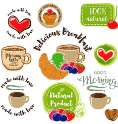 Set of Good morning breakfast labels emblems and vector image