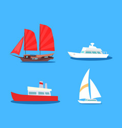 set of sailing and motor vessels icon vector image