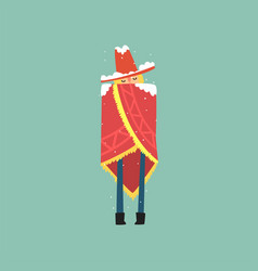 Yong man in red poncho and hat freezing and vector