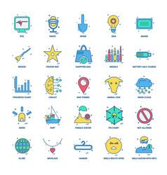 25 business concept mix flat color icon set vector