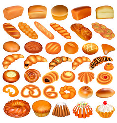 a set of bread and baking isolated on a white vector image vector image