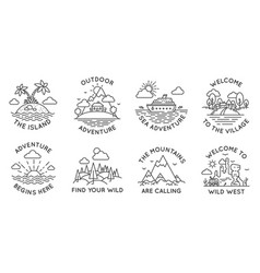 Adventure line badges outdoor travel logos and vector