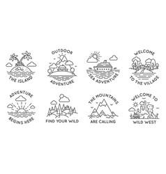 Adventure line badges outdoor travel logos vector