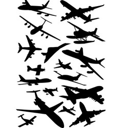 airplanes silhouettes collection vector image