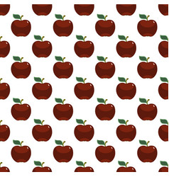 apple red art seamless pattern on white background vector image