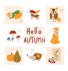 autumn cartoon template with hand vector image