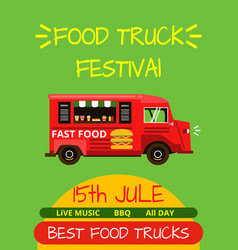 banner or menu for food truck festival vector image