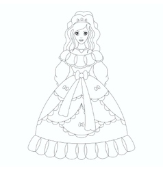 Beautiful princess coloring book page vector image